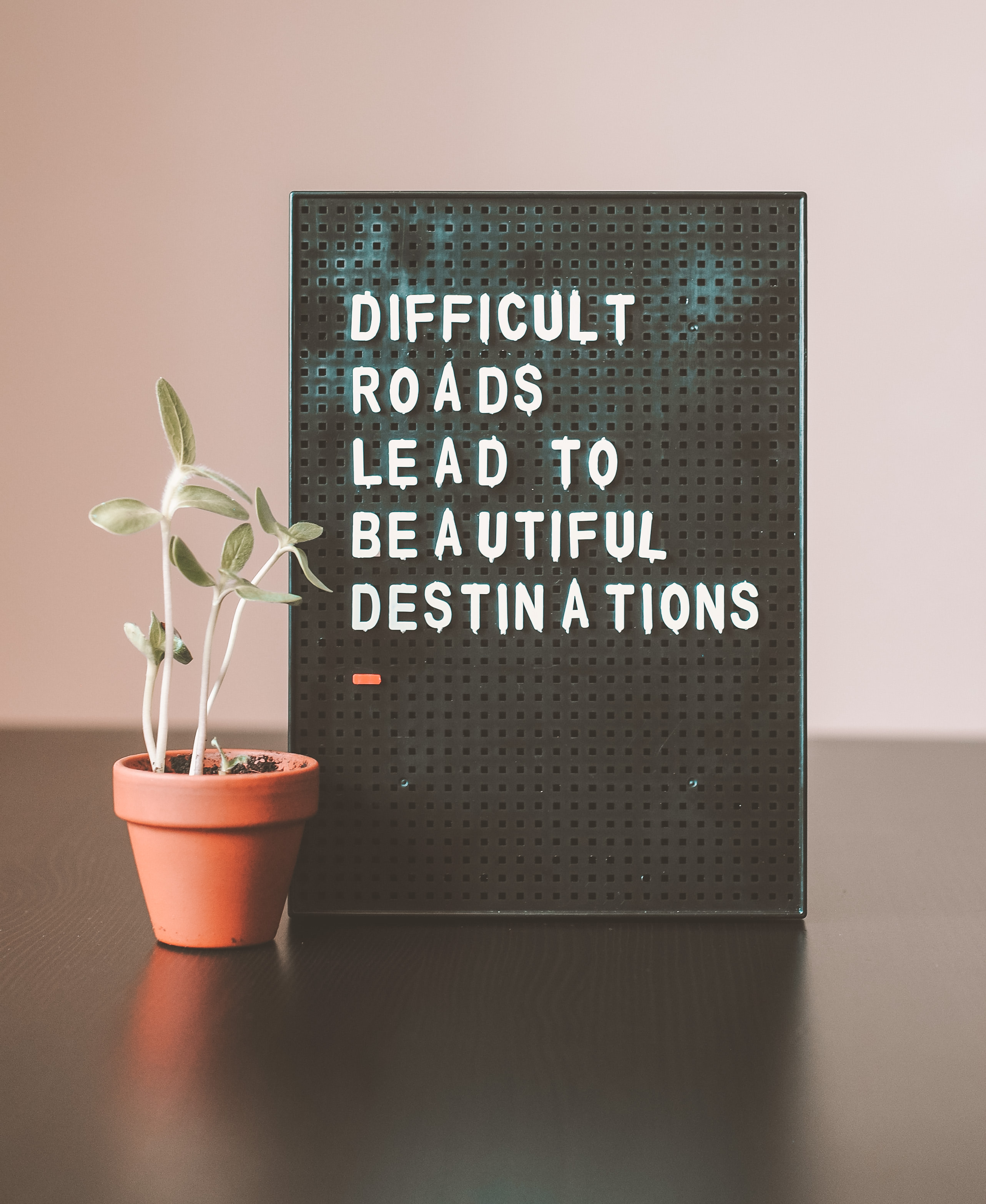 Difficult roads lead to beautiful destinations..